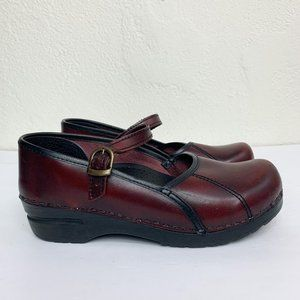 Sanita Marcelle Burgundy Leather Mary Jane Clogs